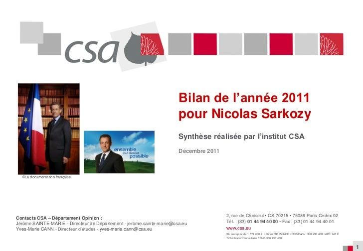 Bilan 2011 de la cote de confiance de Nicolas Sarkozy en 2011 (institut CSA)