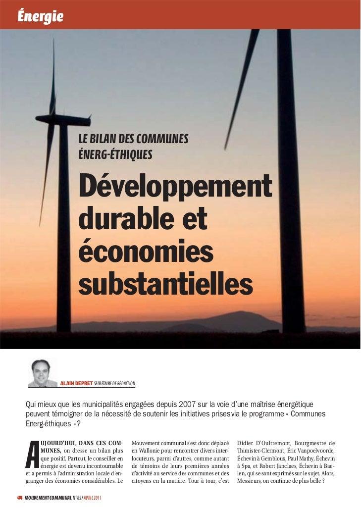 Énergie                           LE BILAN DES COMMUNES                           ÉNERGÉTHIQUES                          ...