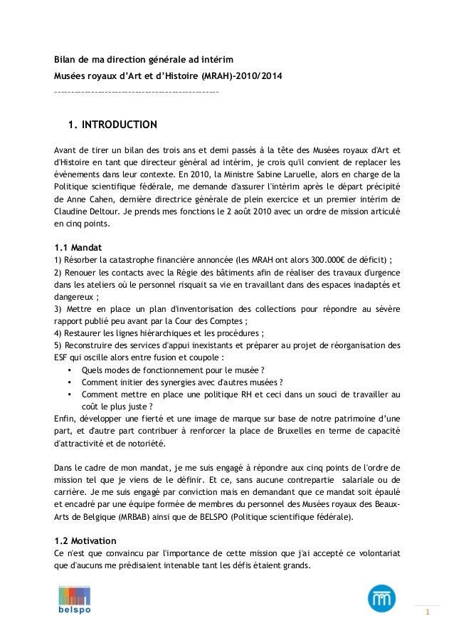 Bilan de ma direction générale ad intérim Musées royaux d'Art et d'Histoire (MRAH)-2010/2014 –––––––––––––––––––––––––––––...
