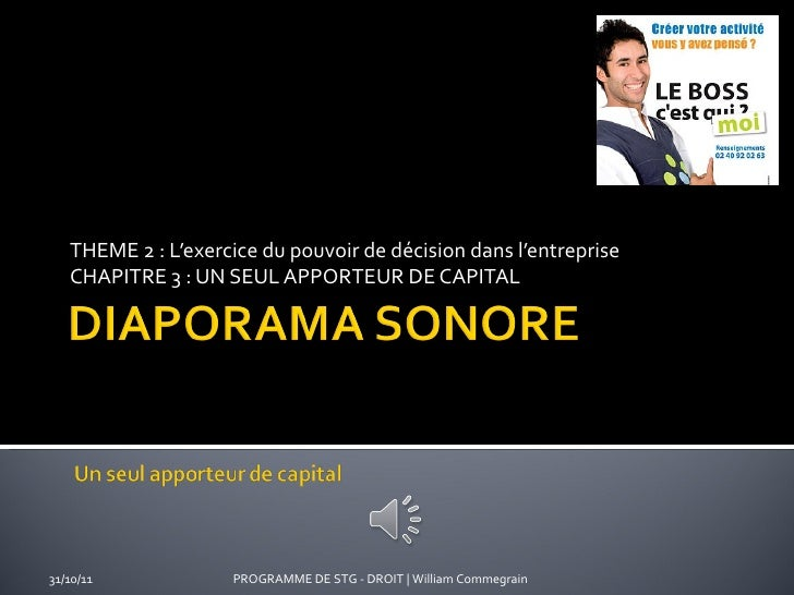 THEME 2 : L'exercice du pouvoir de décision dans l'entreprise CHAPITRE 3 : UN SEUL APPORTEUR DE CAPITAL PROGRAMME DE STG -...