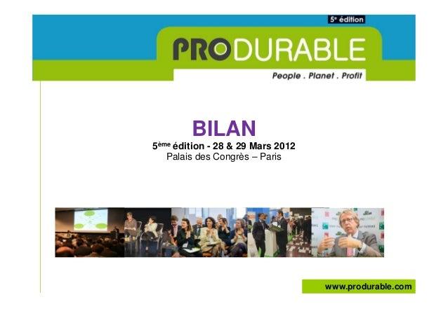 Bilan general produrable 2012