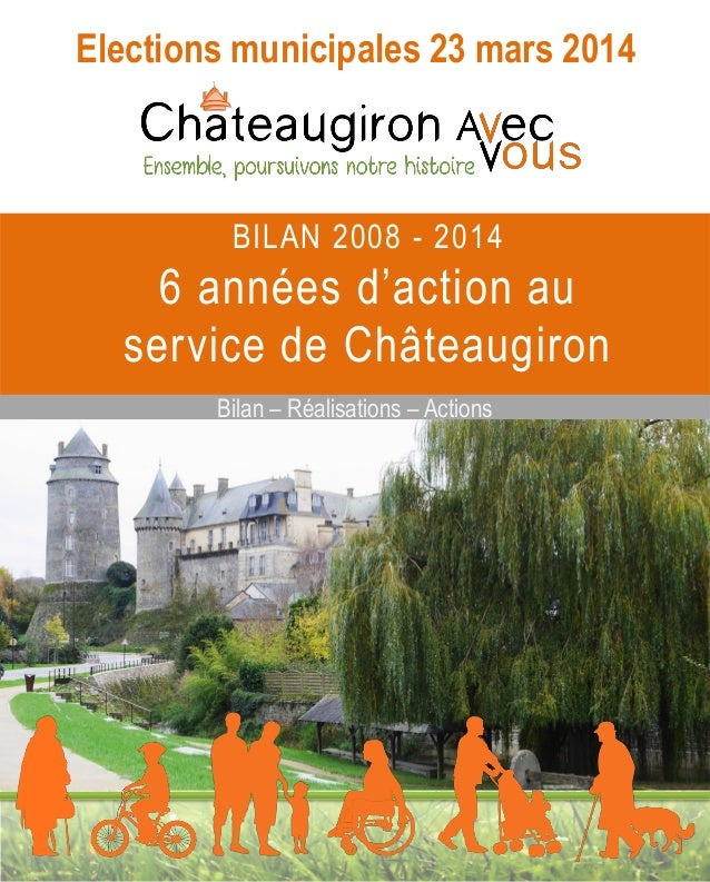 Elections municipales 23 mars 2014  BILAN 2008 - 2014  6 années d'action au service de Châteaugiron Bilan – Réalisations –...