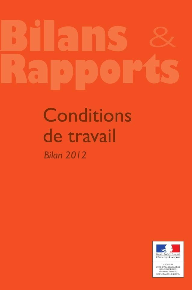 Bilan rapport conditions de travail 2012