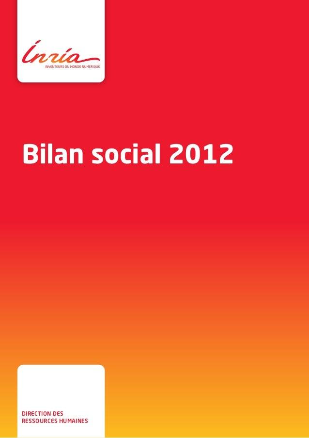 Bilan social 2012 direction des ressources humaines