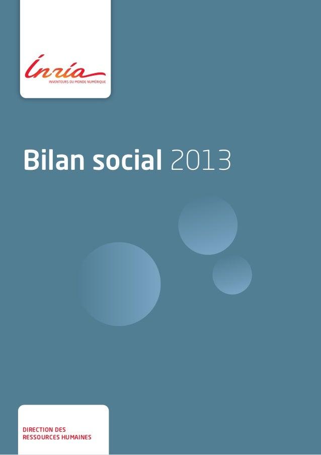 Bilan social 2013  direction des  ressources humaines