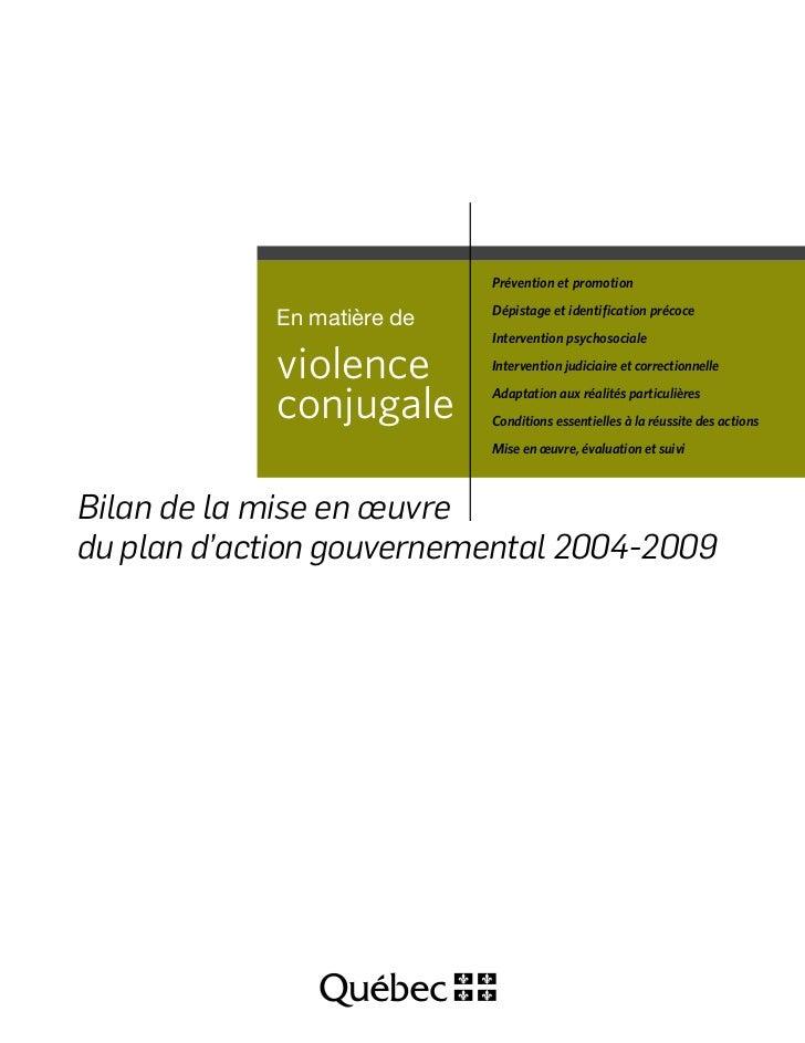Violence conjugale : Bilan de la mise en œuvre du plan d'action gouvernemental