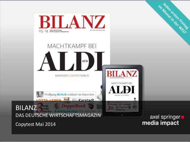 BILANZ DAS DEUTSCHE WIRTSCHAFTSMAGAZIN Copytest Mai 2014