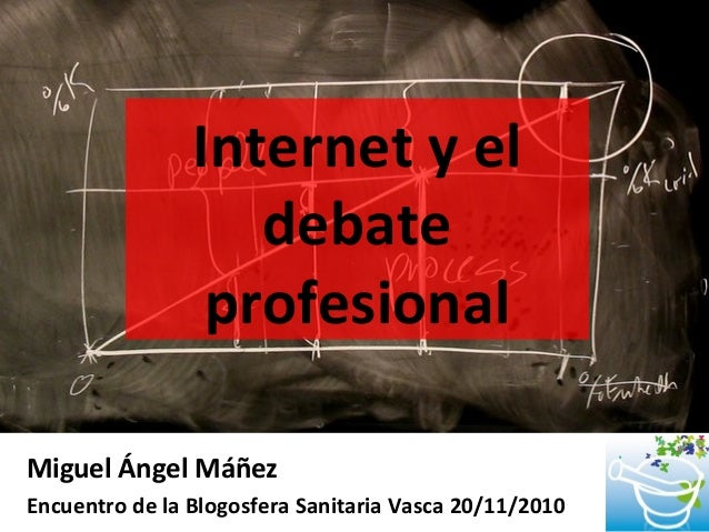 Internet y el debate profesional Miguel Ángel Máñez Encuentro de la Blogosfera Sanitaria Vasca 20/11/2010