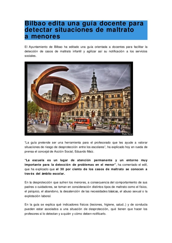 Bilbao edita una guía docente para detectar situaciones de maltrato a