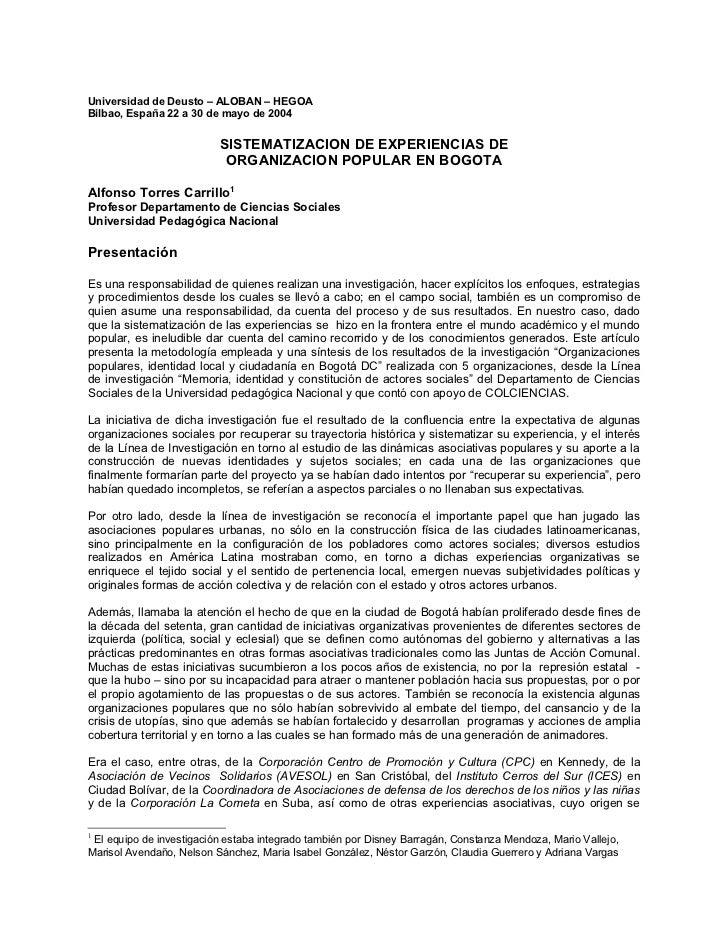 Universidad de Deusto – ALOBAN – HEGOABilbao, España 22 a 30 de mayo de 2004                          SISTEMATIZACION DE E...
