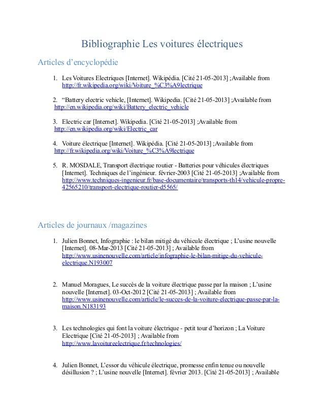 Bibliographie Les voitures électriquesArticles d'encyclopédie1. Les Voitures Electriques [Internet]. Wikipédia. [Cité 21-0...