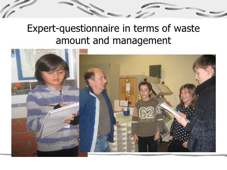 Expert-questionnaire in terms of waste amount and management