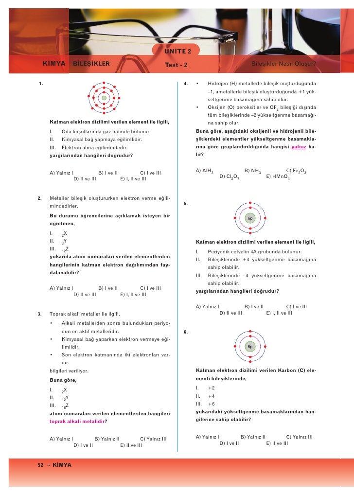 ÜNİTE 2     KİMYA          BİLEŞİKLER                                           Test - 2                                  ...