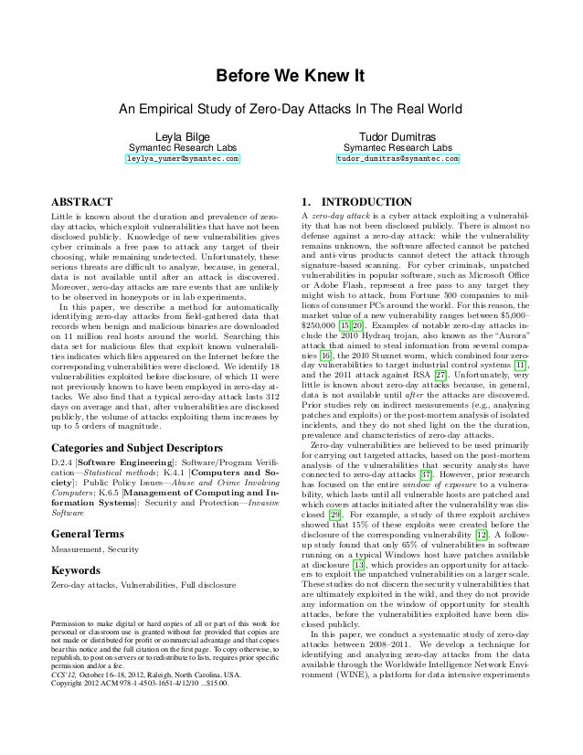 Before We Knew It                       An Empirical Study of Zero-Day Attacks In The Real World                          ...