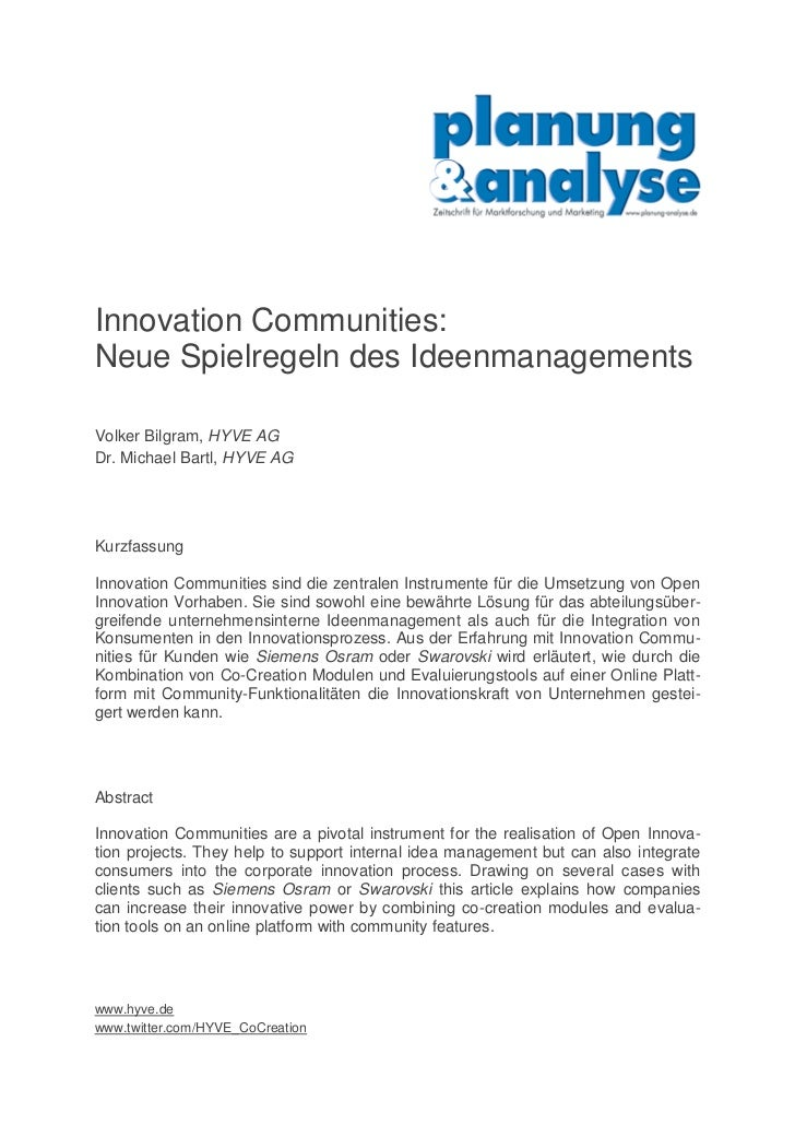 Innovation Communities: Neue Spielregeln des Ideenmanagements  Volker Bilgram, HYVE AG Dr. Michael Bartl, HYVE AG     Kurz...