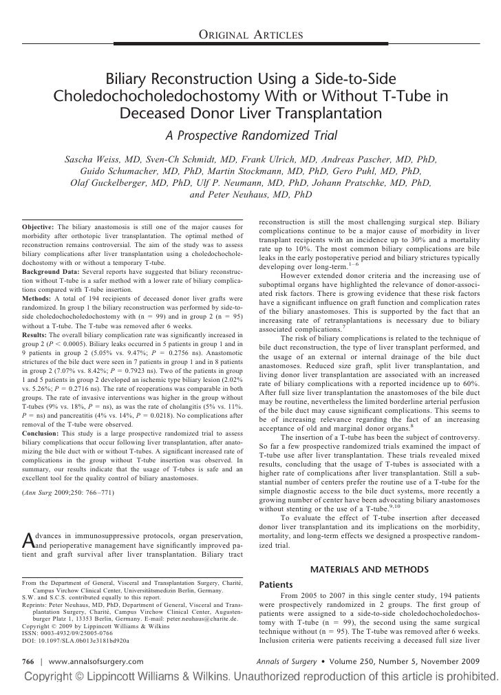 ORIGINAL ARTICLES                    Biliary Reconstruction Using a Side-to-Side            Choledochocholedochostomy With...