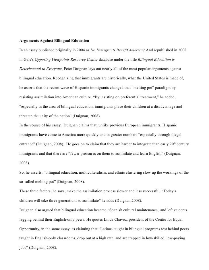 bilingual education issue essay Bilingual education research paper starter quiz, and essay richard rodriguez addresses the issue of bilingual education.