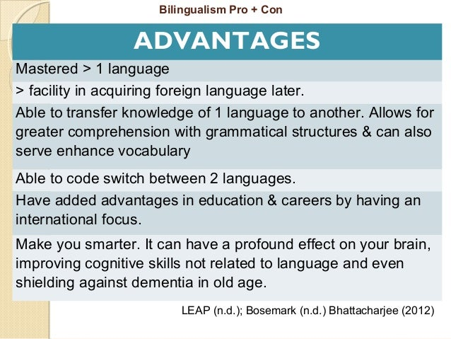 advantages of bilingual education in malaysia Corresponding author bilingualism in malaysia: language education policy and  local needs chan  a high status and can bring about economic advantage.