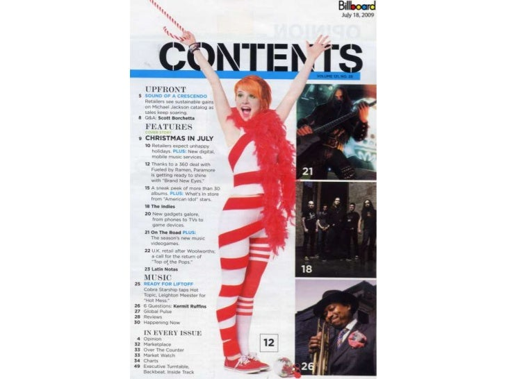 Billboard contents page