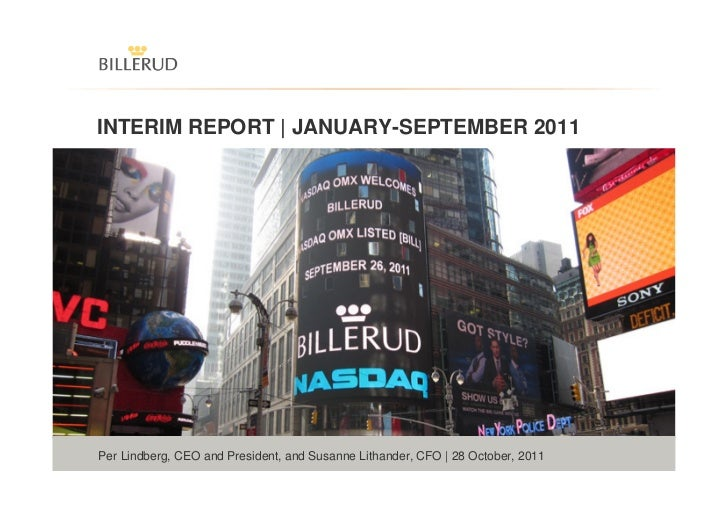 INTERIM REPORT | JANUARY-SEPTEMBER 2011 THE NATURAL PART IN SMARTER PACKAGINGPer Lindberg, CEO and President, and Susanne ...