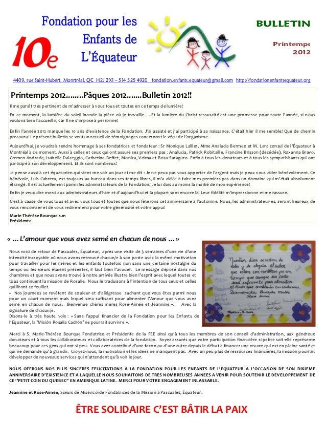 Bulletin printemps-2012