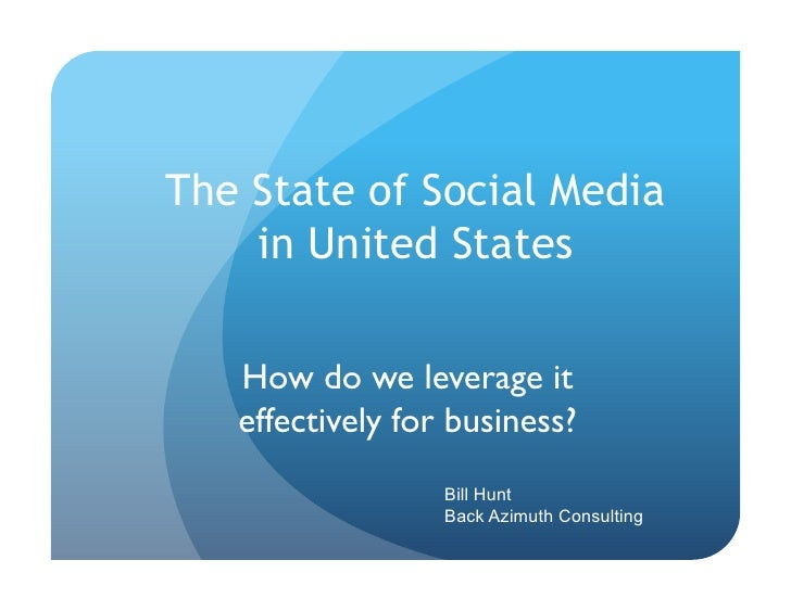 The State of Social Media     in United States     How do we leverage it    effectively for business?                    ...