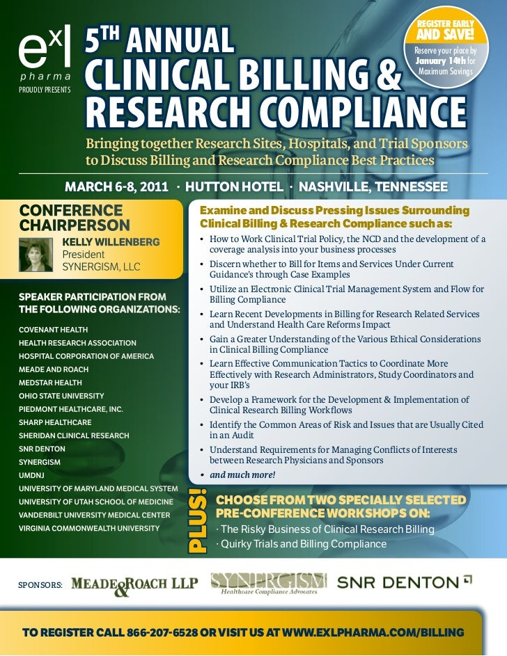 5th Annual Clinical Billing & Research Compliance, March 2011, Nashville