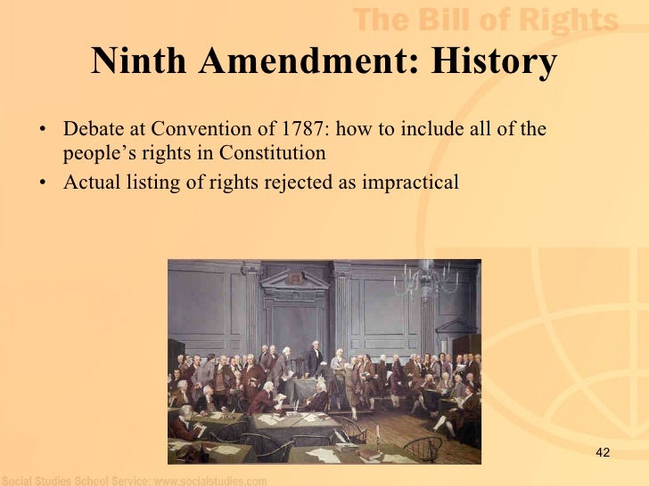 9th amendment Ninth amendment - unenumerated rightsamendment text | annotations the enumeration in the constitution, of certain rights, shall not be construed to deny or.