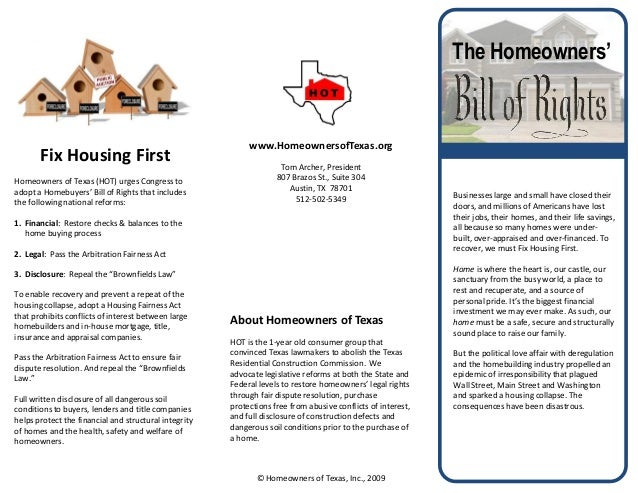 The Homeowners' Bill of Rights