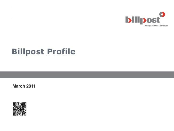 Billpost ProfileMarch 2011                   © 2011 BillPost l www.billpost.co.kr                                         ...
