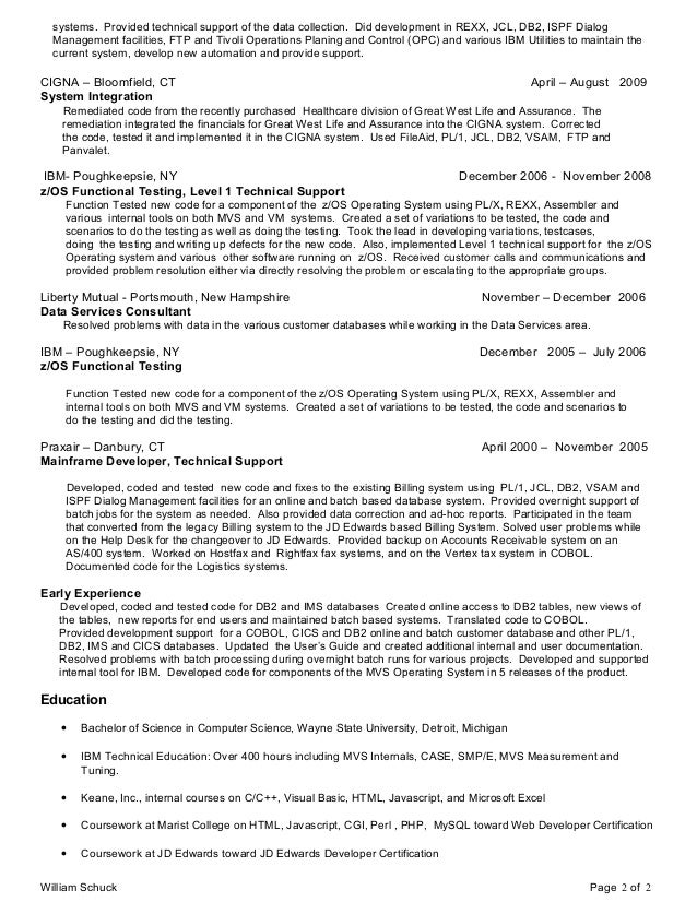 mainframe resume sample - Roberto.mattni.co