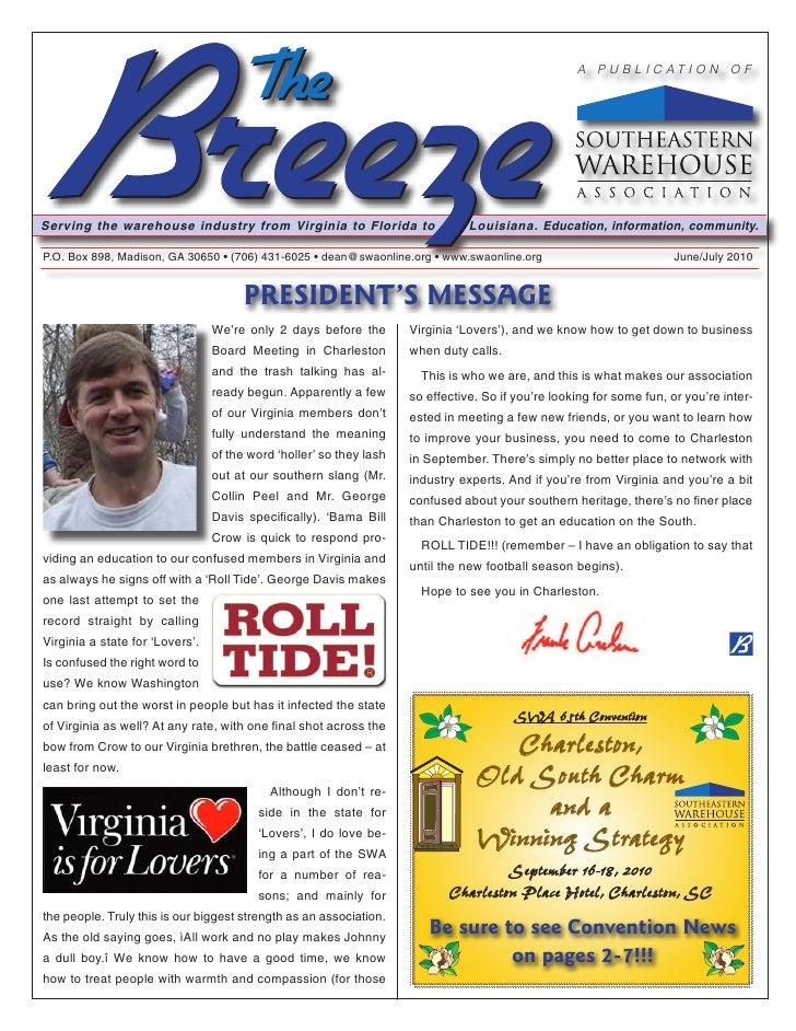 Bill Stankiewicz Newsletter Copy June July2010 Breeze