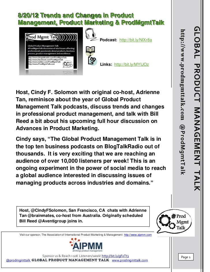 8/20/12 Trends & Changes in Product  Management, Product Marketing & ProdMgmtTalk