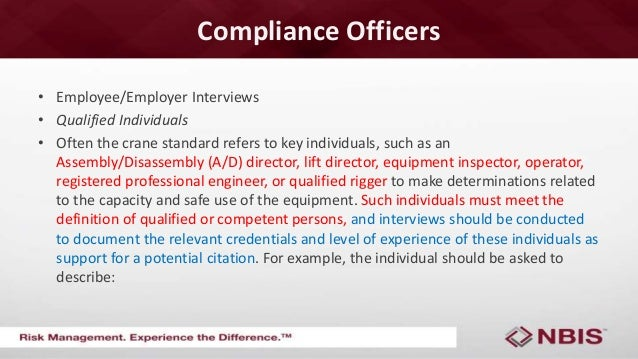 2015 crw new crane rules new compliance directives - Compliance officer interview ...