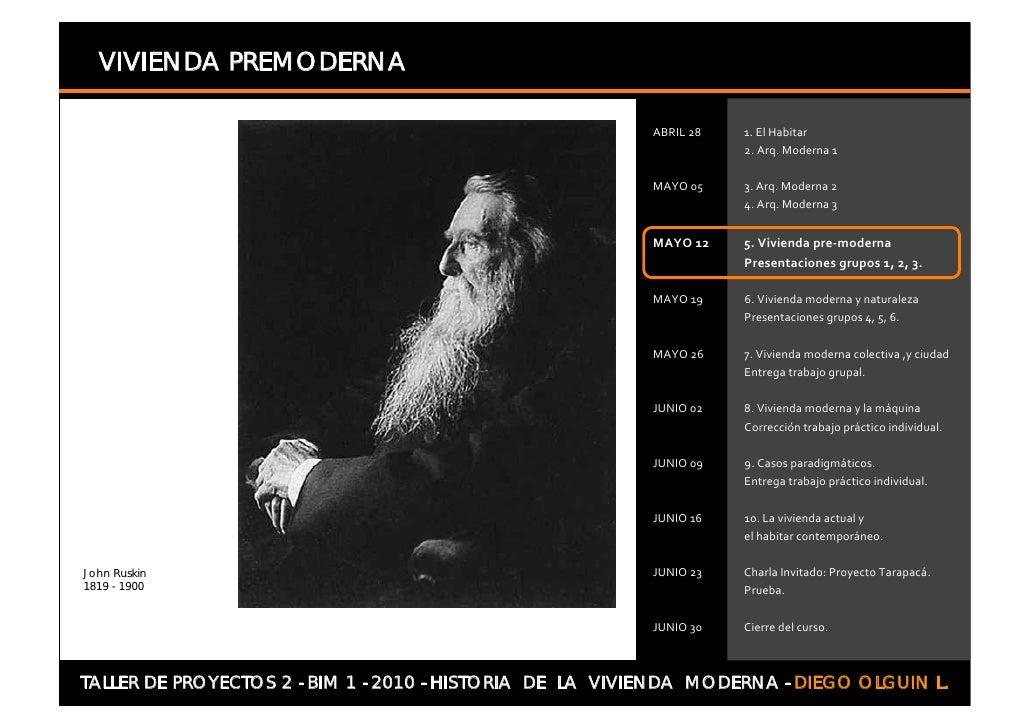 VIVIENDA PREMODERNA                               t     John Ruskin 1819 - 1900     TALLER DE PROYECTOS 2 - BIM 1 - 2010 -...