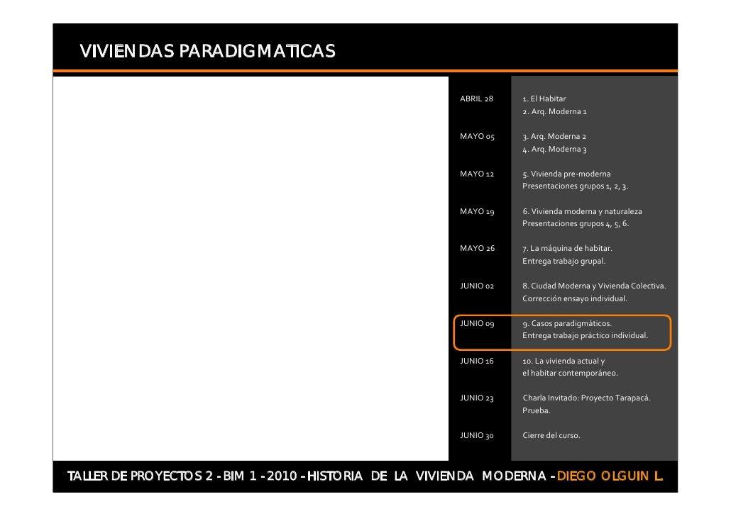 VIVIENDAS PARADIGMATICAS     TALLER DE PROYECTOS 2 - BIM 1 - 2010 - HISTORIA DE LA VIVIENDA MODERNA - DIEGO OLGUIN L.
