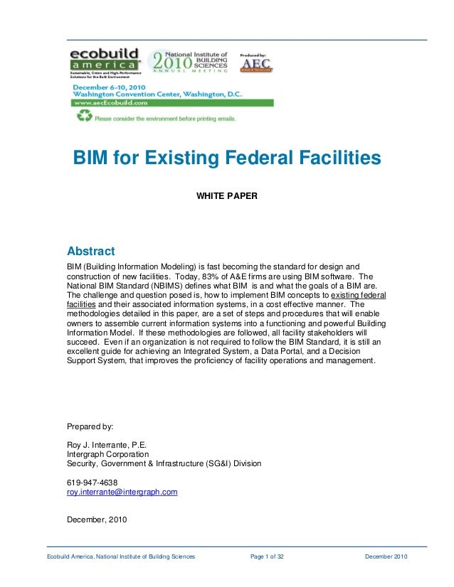 Bim For Existing Federal Facilities