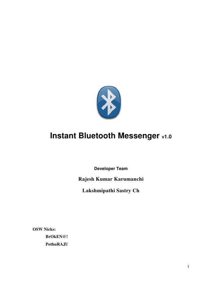 BluetoothIM Documentation with Complete Source Code