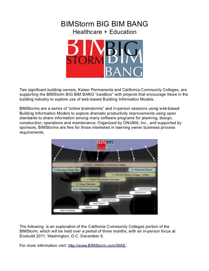 BIMStorm BIG BIM BANG                             Healthcare + EducationTwo significant building owners, Kaiser Permanente...