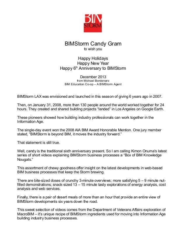 BIMStorm Candy Gram to wish you  Happy Holidays Happy New Year th Happy 6 Anniversary to BIMStorm December 2013 from Micha...