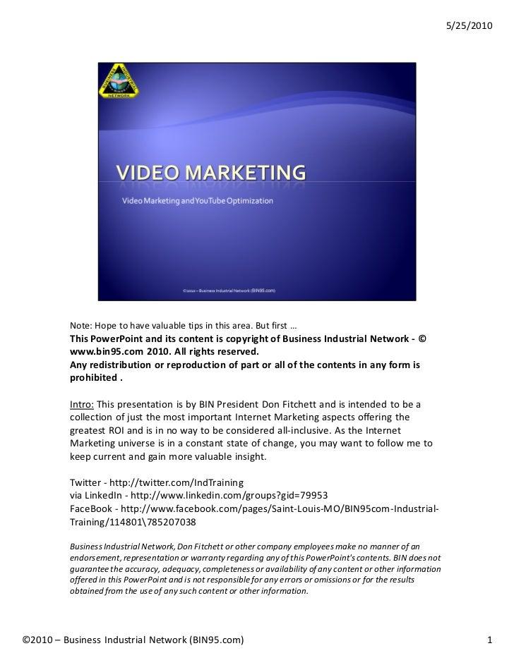 Bin95 you tube-video-marketing