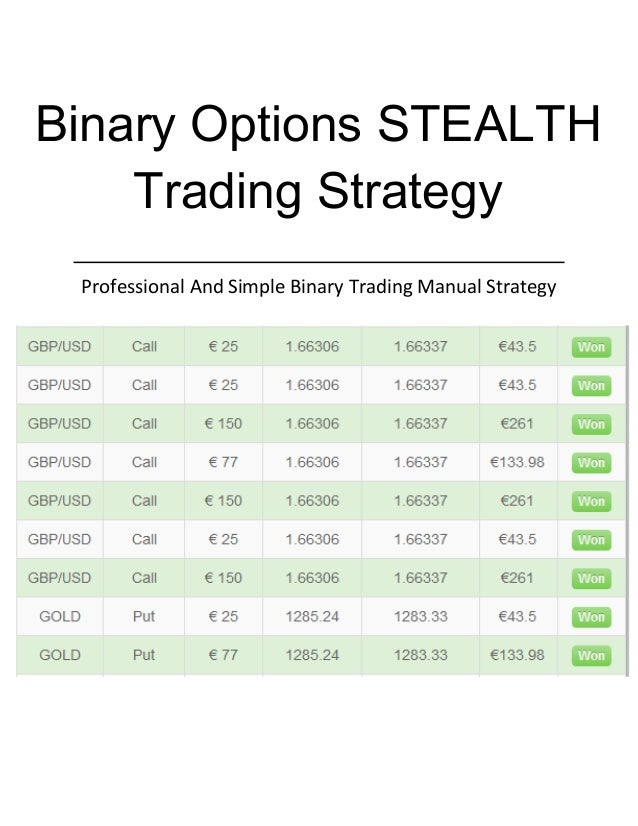 Strategy trading binary options
