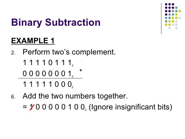 Binary subtraction rules using 239s complement