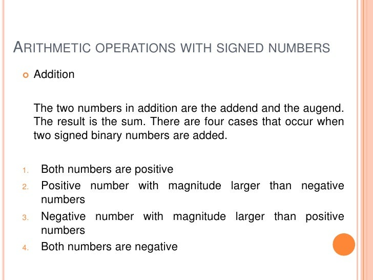 mathematical operations binary numbers