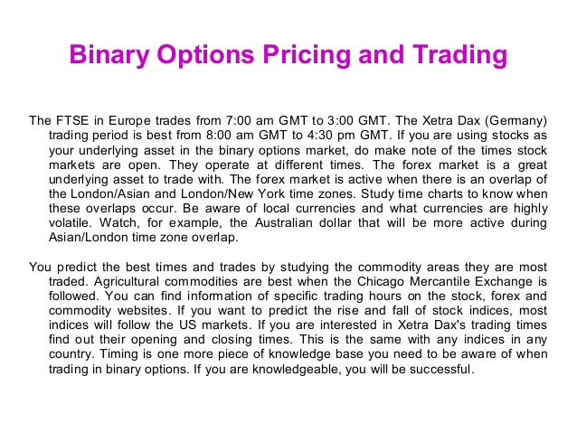 Pricing binary options