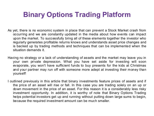 Binary options trading platforms