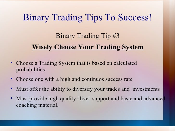 Binary option tips