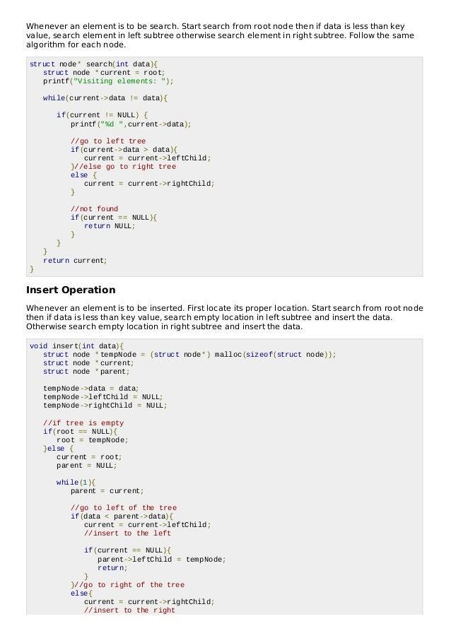 Binary search tree insert node