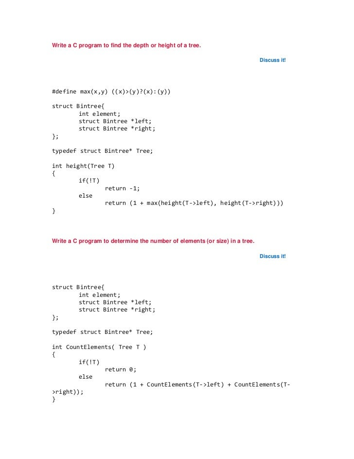 Write a C program to find the depth or height of a tree.                                                                  ...