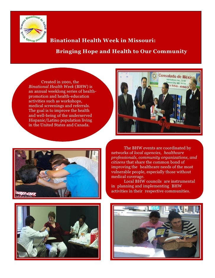 Binational Health Week in Missouri:               Bringing Hope and Health to Our Community             Created in 2001, t...